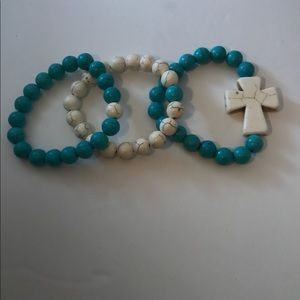 Stackable Teal Howlite Bracelets set of 3